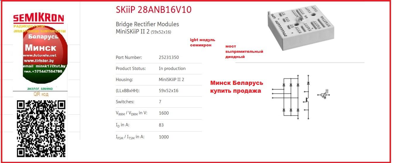 SKiiP 28ANB16V10 semikron SKiiP 28ANB16V10 Bridge Rectifier Modules MiniSKiiP II 2 (59x52x16) мост выпрямительный мост диодный модуль  SKiiP28ANB16V10